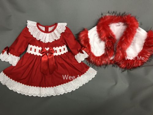 Stunning Baby Girl Red Christmas Outfit Long Sleeve Dress with Fur Cape Perfect For Winter